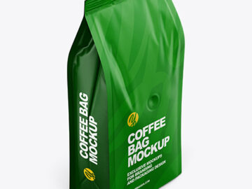 Matte Coffee Bag Mockup - Half Side View