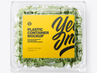 Transparent Plastic Container with Arugula Mockup - Top View