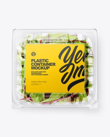 Transparent Plastic Container with Salad Mockup - Top View