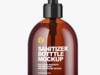 Amber Sanitizer Bottle Mockup