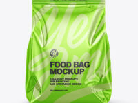 Glossy Metallic Food Bag Mockup - Front View