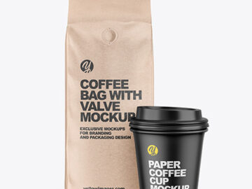 Kraft Coffee Bag with Cup Mockup