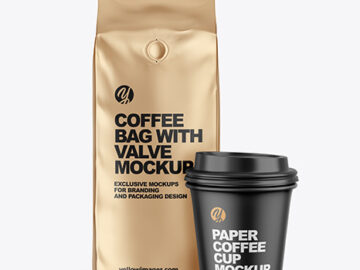 Metallic Coffee Bag with Cup Mockup