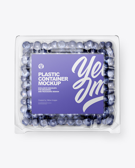 Clear Transparent Plastic Container with Blueberries Mockup – Top View