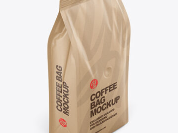 Kraft Coffee Bag Mockup - Half Side View