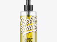 Clear Cosmetic Bottle with Oil Mockup