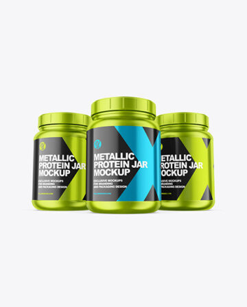Three Metallic Protein Jars Mockup
