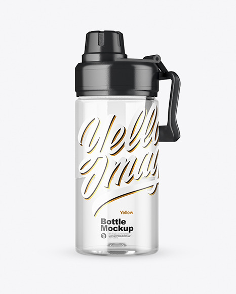 Clear Sport Bottle with Water Mockup