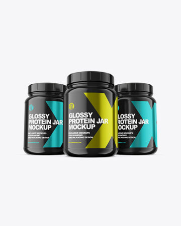 Three Glossy Protein Jars Mockup