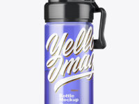 Color Sport Bottle with Water Mockup