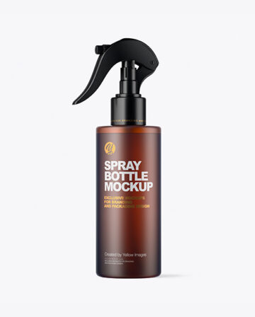 Frosted Amber Spray Bottle Mockup