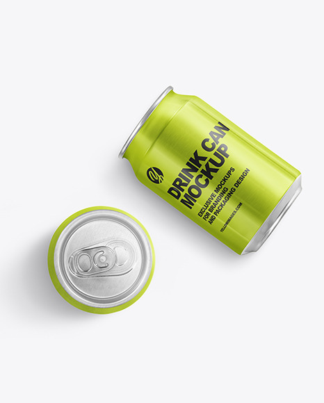 Two 330ml Alluminium Drink Cans Mockup