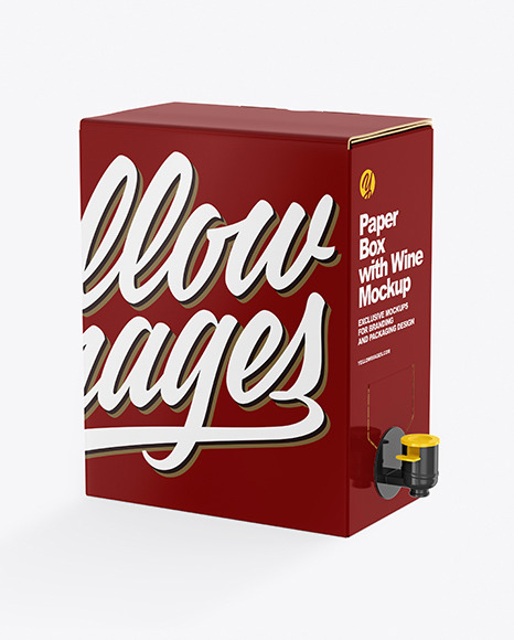 Glossy Paper Box with Wine Mockup