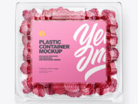 Clear Transparent Plastic Container with Raspberries Mockup – Top View