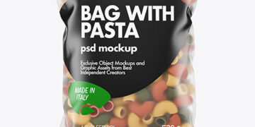 Matte Plastic Bag With Tricolor Pipe Rigate Pasta Mockup