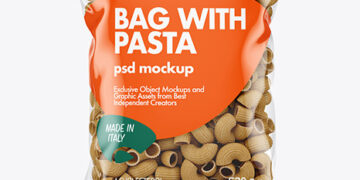 Whole Wheat Pipe Rigate Pasta Bag Mockup