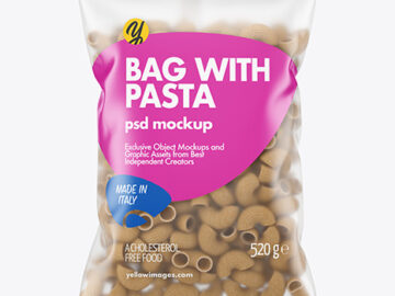 Whole Wheat Pipe Rigate Pasta Matte Bag Mockup