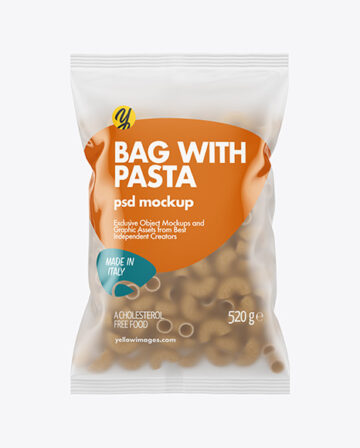 Whole Wheat Pipe Rigate Pasta Frosted Bag Mockup