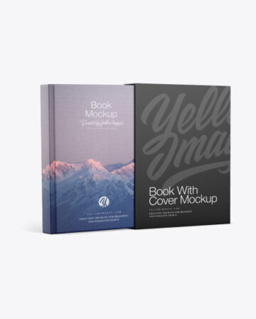 Fabric Hardcover Book With Cover Mockup