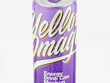 Metallic Drink Can With Glossy Finish And Condensation Mockup
