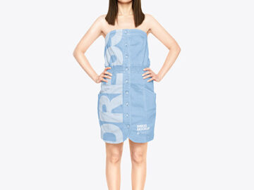 Woman in a Jeans Dress Mockup
