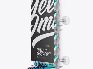 Dispenser w/ Matte Metallic Cans Mockup