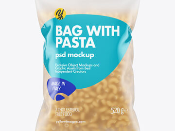 Frosted Plastic Bag With Chifferini Pasta Mockup