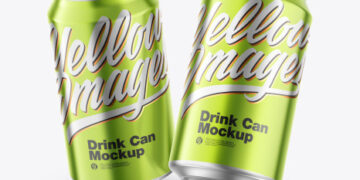 Glossy Metallic Cans Mockup