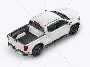 Pickup Truck Mockup - Back Half Side View (high angle shot)