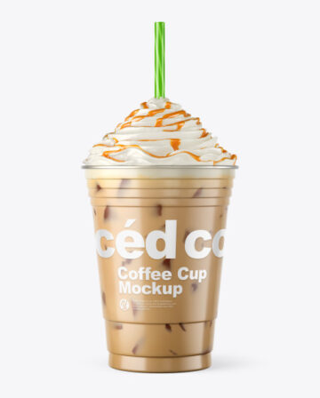Iced Coffee Cup with Topping Mockup