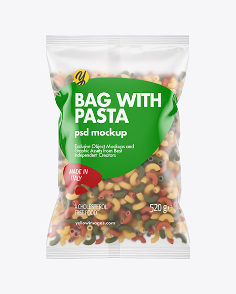 Matte Plastic Bag With Tricolor Chifferini Pasta Mockup