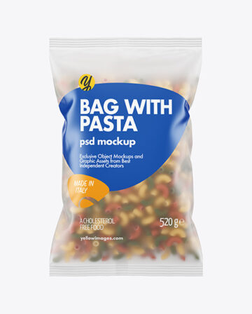 Frosted Plastic Bag With Tricolor Chifferini Pasta Mockup