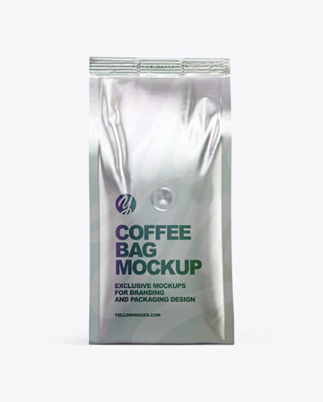 Metallic Coffee Bag Mockup - Front View