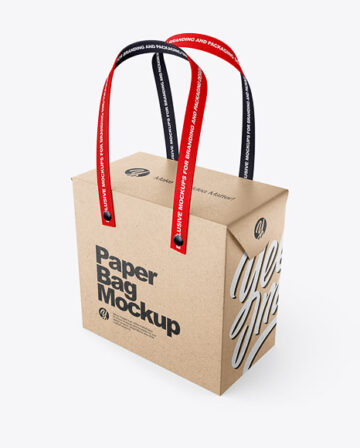 Kraft Paper Box Bag with Textile Handles Mockup - Half Side View