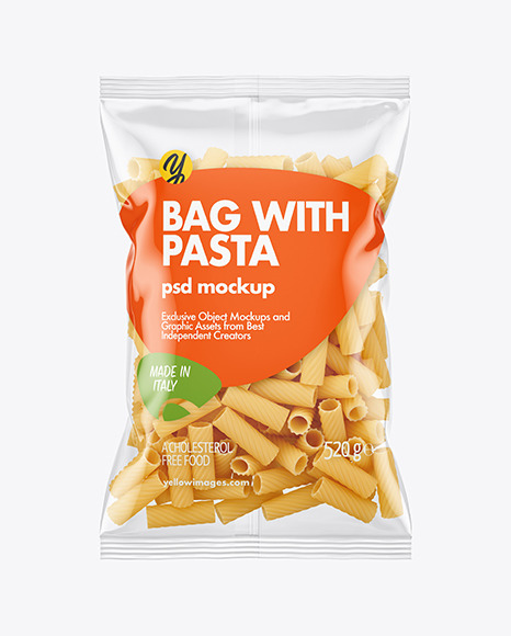 Plastic Bag With Tortiglioni Pasta Mockup