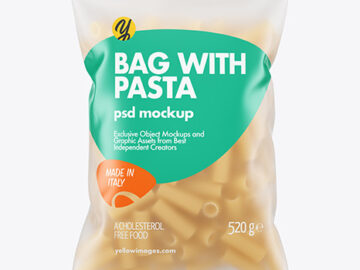 Frosted Plastic Bag With Tortiglioni Pasta Mockup