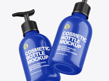 Two Glossy Cosmetic Bottles with Pump Mockup