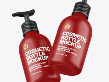 Two Matte Cosmetic Bottles with Pump Mockup