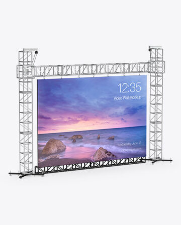 Stage Video Wall Mockup - Half Side View