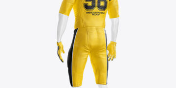 American Football Kit Mockup with Mannequin - Half Side View