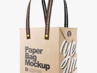 Kraft Paper Bag with Textile Handles Mockup - Half Side View