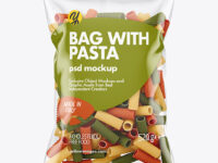 Plastic Bag With Tricolor Tortiglioni Pasta Mockup