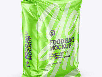 Metallic Food Bag Mockup - Half Side View