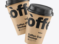 Kraft Coffee Cups Mockup