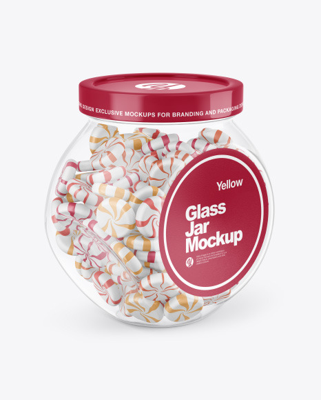 Glass Jar With Candies Mockup