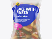 Frosted Plastic Bag With Tricolor Tortiglioni Pasta Mockup