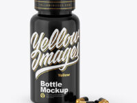 Glossy Plastic Bottle & Pills Mockup