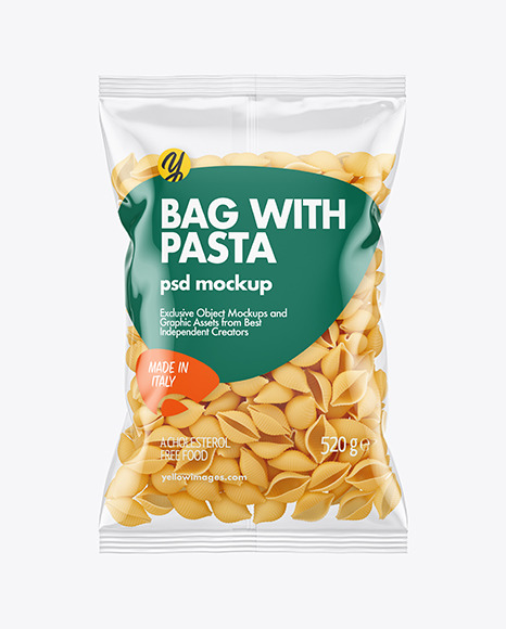 Plastic Bag With Conchiglie Pasta Mockup