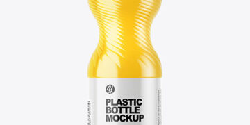 PET Bottle with Orange Drink Mockup