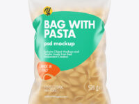 Frosted Plastic Bag With Conchiglie Pasta Mockup